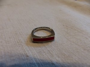 glänzender SIlberring mit rot von Jacques Lemans - neu - Gr. 56
