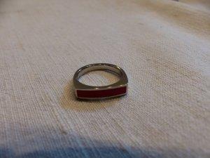 Jacques Lemans Zilveren ring zilver-rood