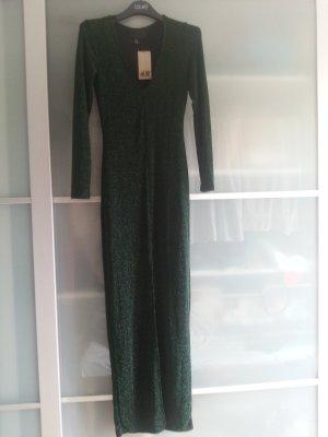 Glänzendes Abendkleid Schwarz/Grün