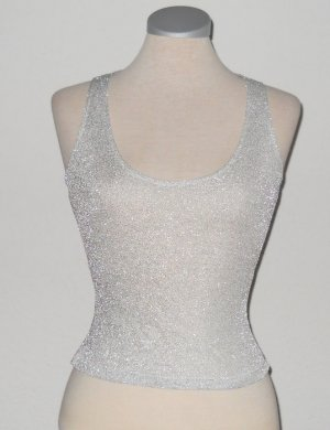 Glam Rock silber Party Top Gr. XS S 34 36 Oberteil