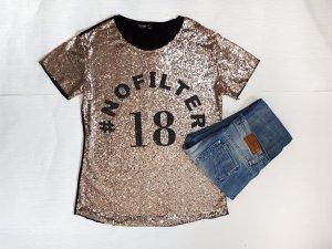 Glammer T-Shirt mit Pailletten und Schriftzug Gr.38/40