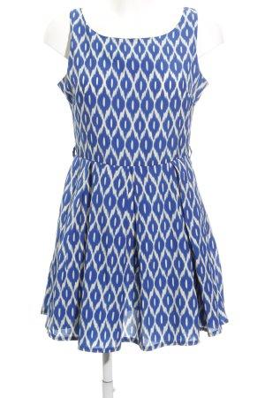 Glamorous A-Linien Kleid blau-wollweiß abstraktes Muster extravaganter Stil