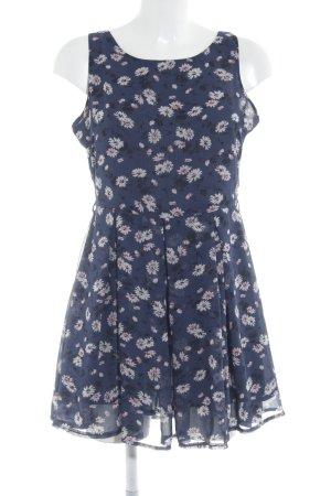 Glamorous A-Linien Kleid dunkelblau Blumenmuster Beach-Look