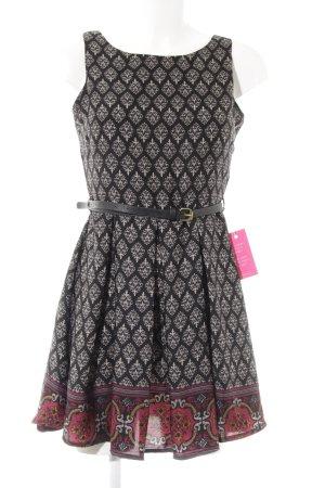 Glamorous Abendkleid schwarz-wollweiß florales Muster schlichter Stil