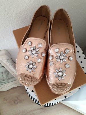 Glamorous Espadrilles Ballerinas Rose gold Metallic Cinderella Gr. 40