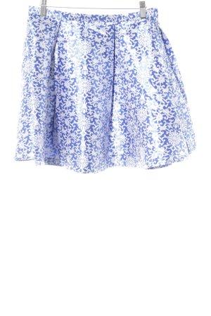 Glamorous Gonna a pieghe blu acciaio-grigio chiaro motivo floreale