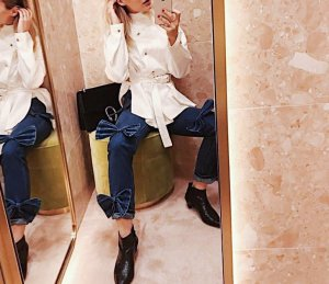 Glamorous High Waist Jeans Schleifenapplikationen