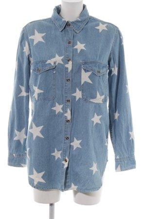 Glamorous Jeanshemd blau-weiß Allover-Druck Casual-Look