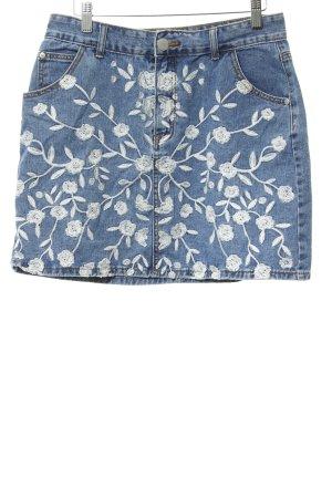 Glamorous Jeansrock stahlblau-wollweiß Blumenmuster Casual-Look