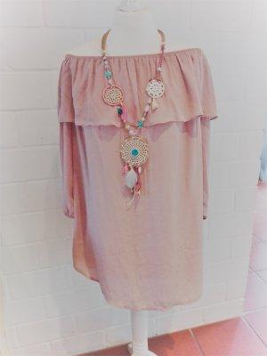 Glamorous Kleid nudefarben Schulterfrei Ibiza-Look Größe 34/36