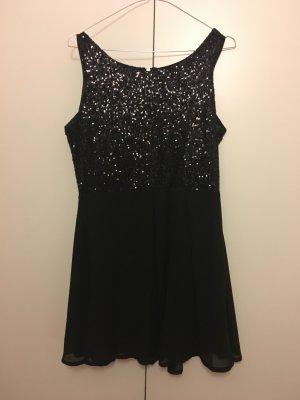 Glamorous Kleid Pailetten M 38 schwarz Reisverschluss Gold Chiffon P&C