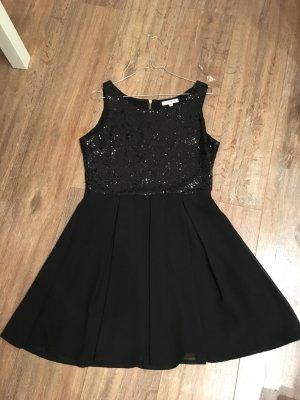 Glamorous Kleid Pailetten schwarz Gold M 36 38 P&C A-Linie Chiffon