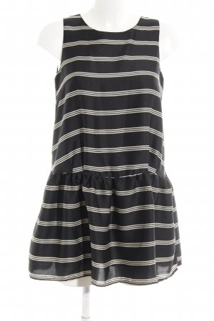 Glamorous Kurzarmkleid schwarz-creme Streifenmuster schlichter Stil