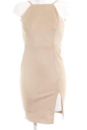 Glamorous Leather Dress beige elegant