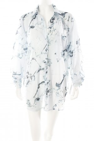 Glamorous Long-Bluse himmelblau-dunkelblau Marmor-Optik