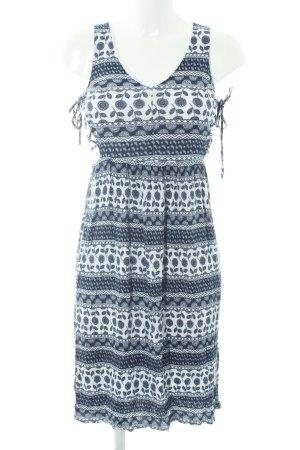 Glamorous Midikleid blau-wollweiß abstraktes Muster
