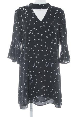 Glamorous Minikleid schwarz-weiß Sternenmuster Volantbesatz