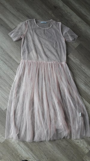 Glamorous Petite Tüllkleid Mesh Tüll Nude Volants Babydoll UK10