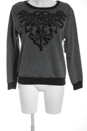 Glamorous Rundhalspullover grau-schwarz florales Muster minimalistischer Stil