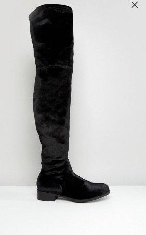 Glamorous schwarze flache Overknee-Stiefel Gr.40
