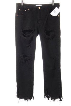 Glamorous Slim Jeans schwarz Destroy-Optik