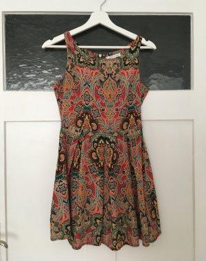 Glamorous Sommer Kleid Dress Paisley Bunt Muster Weiß Rot Grün XS 34 NEU