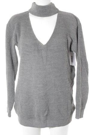 Glamorous Pull tricoté gris motif tricoté lâche style décontracté