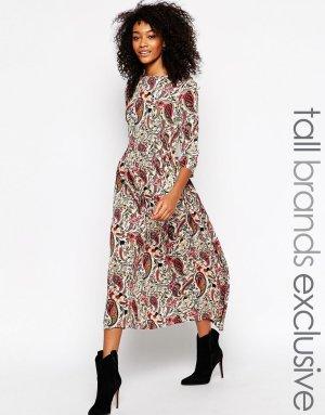 Glamorous Tall Viskose Midi Kleid Paisley Blogger Boho Cosy Trend 38 70ies Asos