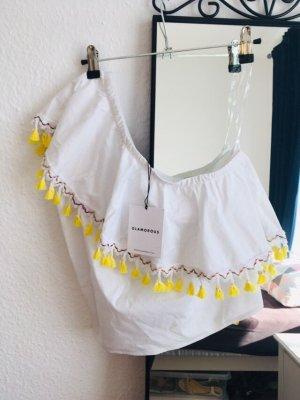 Glamorous Top schulterfrei weiß gelb