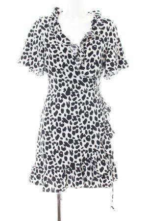 Glamorous Robe portefeuille blanc-noir imprimé allover style décontracté