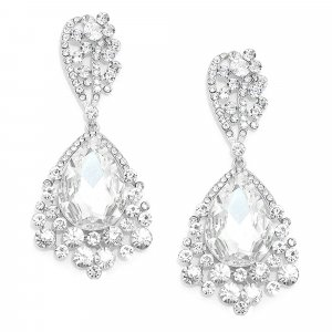 Glamour Abendschmuck Cocktail Ball Hochzeit Lange Silber Ohrringe Earrings Kristall Klar Transparent 8,3 cm lang