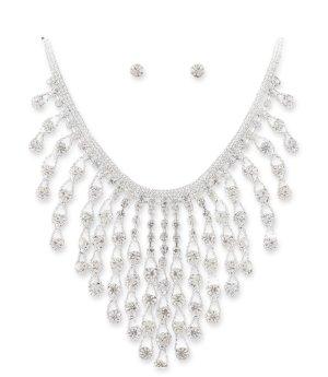 Glamour Abi Ball Hochzeit Brautschmuck Schmuckset Kette Drapiert Ohrringe Kristall Klar Transparent Silber