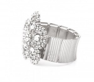 Glamour Armband Elastik Stretch Blume Groß Stufig Kristall Klar Transparent