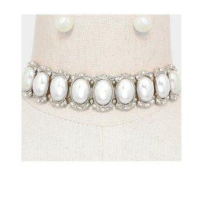 Glamour Brautschmuck Hochzeit Choker Schmuckset Set Kette Ohrringe Perlen Elfenbein Weiß Kristall Klar Transparent Silber