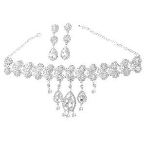 Glamour Brautschmuck Hochzeit Cocktail Ball Schmuckset Set Kette Silber Collier Necklace Halskette Lange Ohrringe Anhänger Blumen Kristall Klar Transparent