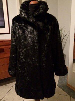 Glamour Fellmantel* Judith Williams*  Vintagelook neu schwarz mit mattem Glanz raffinierter Stil 42