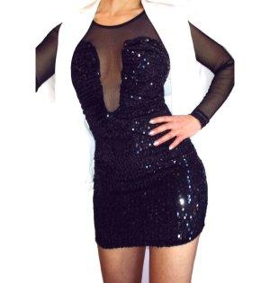 Glamour Kleid mit Pailletten und Netz Einsatz Neu Gr.XS/S