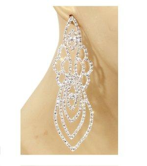 Glamour Leichte Abi Ball Abendschmuck Cocktail Lange Silber Ohrringe Kristall Klar Transparent Versilbert 12,5cm lang