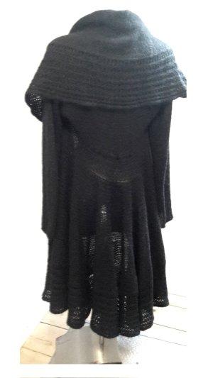 Glamour Luxus Mohair Wolle Strick Lange Jacke Tailliert mit Kragen Schwarz mit Muster von der Marke Rinascimento Größe M/L