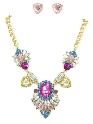 Glamour Luxus Schmuckset Gold Set Kette Ohrringe Kristall Klar Blau Rosa Pink Honig Gelb