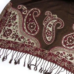 GLAMOUR Pashmina Schal Paisley Muster mit Glitzereffekt Braun Beige Tuch