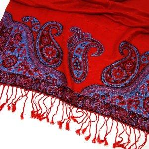 GLAMOUR Pashmina Schal Paisley Muster mit Glitzereffekt Rot Blau Tuch