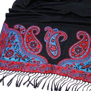 GLAMOUR Pashmina Schal Paisley Muster mit Glitzereffekt Schwarz Rot Blau Tuch