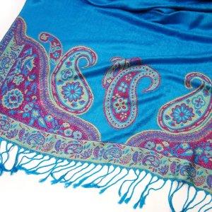 GLAMOUR Pashmina Schal Paisley Muster mit Glitzerffekt Türkis Blau Pink Tuch
