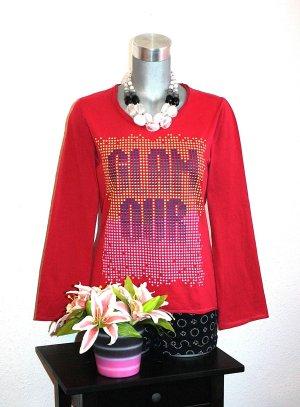 Glamour Print Pullover Gr. 38/40 Rot Langarmshirt