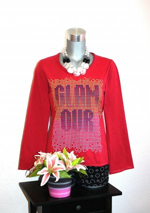 Glamour Print Pullover gr.38/40 Rot Shirt Langarm