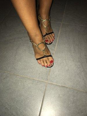 Sandalen met bandjes zwart-goud