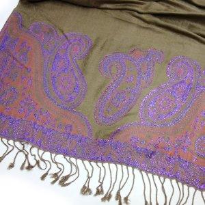 GLAMOUR Schal Pashmina mit Glitzer Effekt Taupe Beige Muster Paisley Tuch