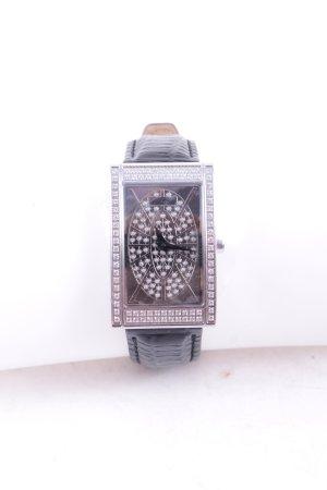 Glamour Time Uhr mit Lederarmband silberfarben-schwarz Glitzer-Optik