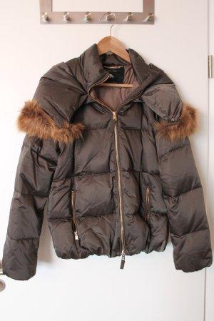 Glamouröse Bomberjacke / Winterjacke mit abnehmbarem Fellkragen für Größen 36/38
